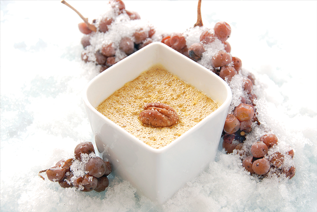 Icewine Custard with Sugared Pecans